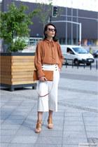 bronze shein blouse - bronze Merg heels - white F&F pants