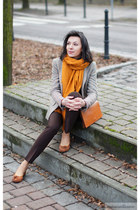 gray Zara jacket - carrot orange Zara scarf