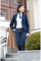 navy H&M blazer - navy Terranova bag - navy Mohito pants - bronze new look belt