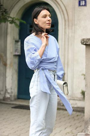 light blue sammydress blouse - light blue Dallas jeans - white zaful bag