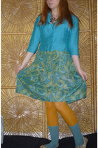 teal and green swirl skirt