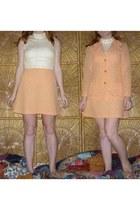 cream vintage dress - orange vintage blazer