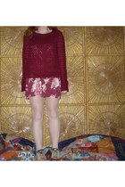 eggshell bowling vintage shoes - maroon floral dress - brick red sweater
