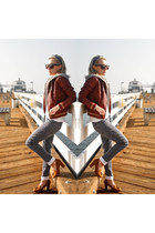 navy Dot Tamale jeans - ruby red obey jacket - tawny Chelsea Crew loafers