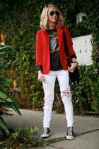 red Silence & Noise blazer - white Zara jeans