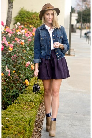 navy denim jacket Current Elliot jacket - deep purple H&M skirt