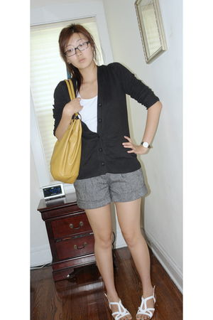 gray Forever 21 shorts - black Eddie Bauer cardigan - white Forever 21 top - whi