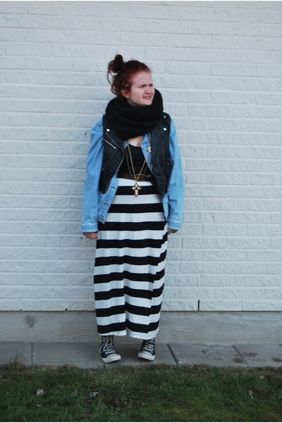 black scarf - jeans jacket - black top - black H&M vest - black and white skirt