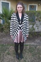 long sleeve stripe cardigan - Forever 21 skirt - button scoop Guess vest - black