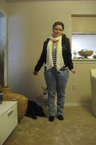 black Topshop shoes - H&M scarf - Forever21 shirt - modcloth accessories