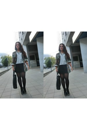 H&M bag - Jeffrey Campbell shoes - Nelly jacket - H&M skirt - H&M jumper