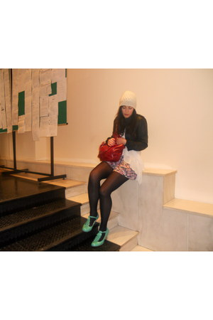 turquoise blue Primark shoes - ivory H&M hat - black Stradivarius jacket - ruby