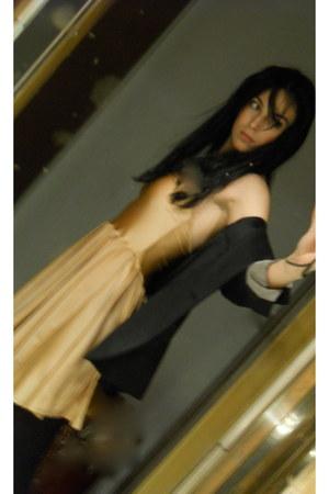 peach American Apparel dress - black Zara blazer - black Calzedonia tights