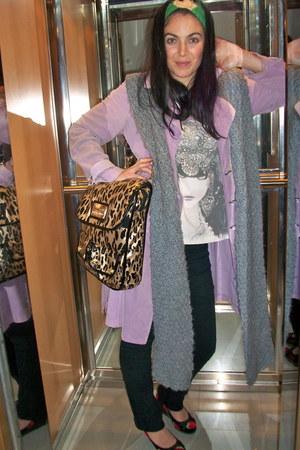 light purple thrifted coat - black Topshop jeans - heather gray Zara scarf - Bet