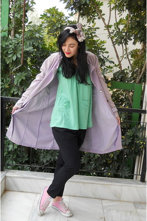 bubble gum Converse shoes - light purple vintage coat - Accessorize scarf - turq