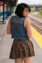 denim papaya vest - leopard print H&M skirt