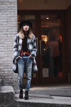 heather gray Zara coat - black Monki sweater - Topshop pants