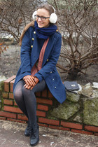 navy Top Secret coat - black Lasocki boots - brick red Sheinside sweater