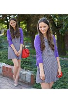 red H&M bag - light purple new look dress - light purple H&M cardigan