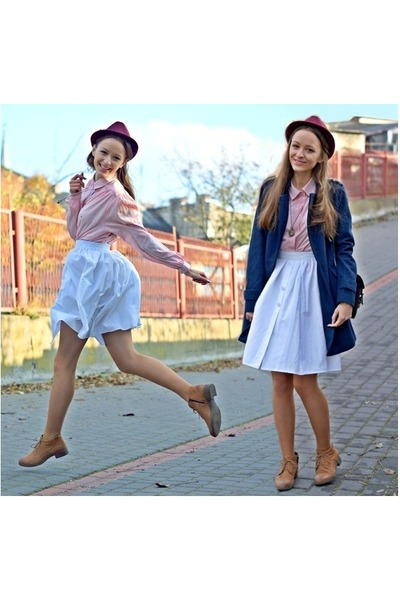 light pink vintage blouse - bronze Lasocki boots - maroon Top Secret hat