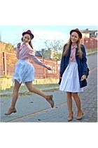 light pink vintage blouse - bronze Lasocki boots - maroon Top Secret hat