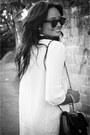 Chanel-bag-ray-ban-glasses-polka-dots-skirt-ivory-blouse