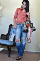 dark brown Gucci bag - 7 for all mankind jeans - hot pink print Cabi scarf