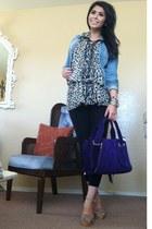 purple suede Kooba bag - leopard silk Anna Sui dress - denim Miss Sixty jacket