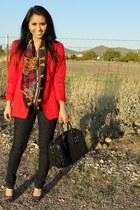 KanKan jeans - red Giorgio Armani blazer - silk Hermes scarf - black Gucci bag -