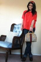 glitter versace jeans - YSL scarf - bronze vintage Gucci bag - leopard sam edelm