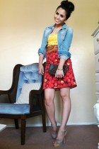 denim Miss Sixty jacket - Louis Vuitton bag - yellow lace vintage top - red cher