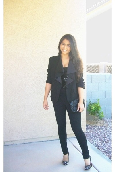 black Christian Louboutin shoes - black DKNY blazer - black Steve Madden purse -