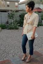 Joes Jeans jeans - kate spade bag - lace vintage top - vintage silk escada blous