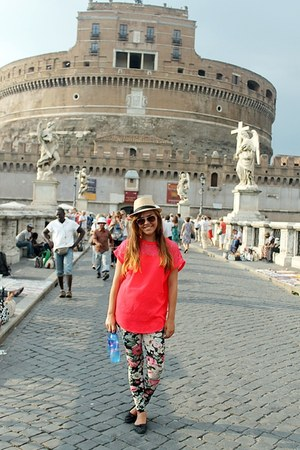 eggshell hat - hot pink H&M shirt - brown sunglasses - aquamarine pants