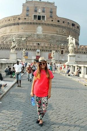 eggshell hat - hot pink H&M shirt - brown sunglasses - aquamarine pants