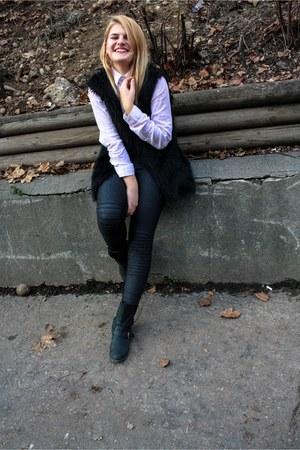 Zara shirt - New Yorker leggings - Zara vest