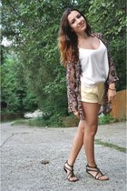 maroon Stradivarius jacket - light yellow Forever 21 shorts - ivory asos top