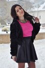 Black-faux-fur-h-m-coat-black-faux-leather-random-brand-skirt