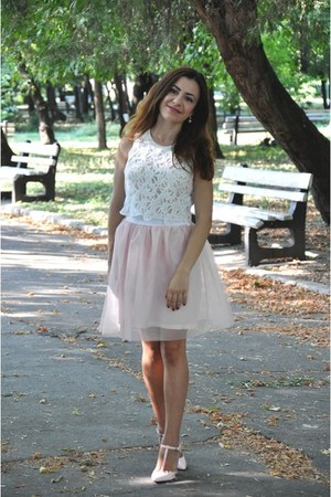 light pink DIY skirt - white Zara top - light pink Zara heels