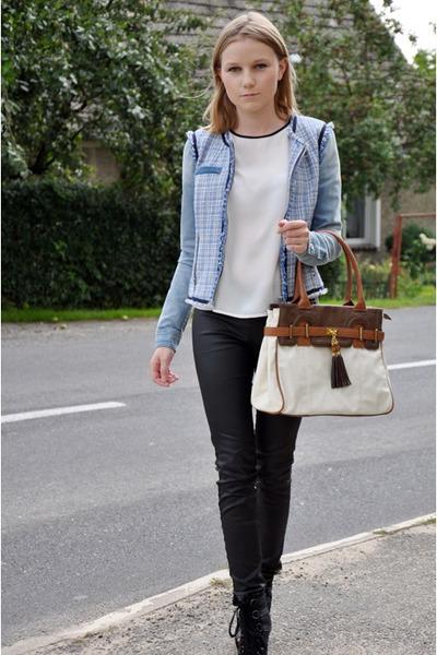 blue Stradivarius jacket - white Cubus shirt - light brown Aldo bag