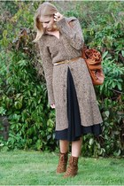 brown Deichmann boots - black dress - brown Parfois bag - brown jumper