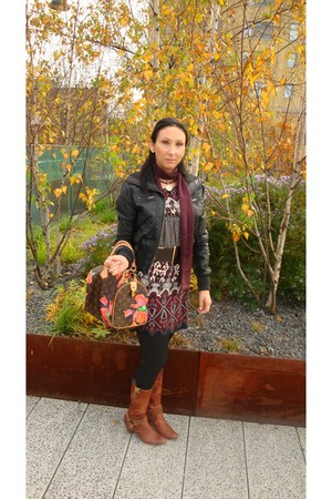 vintage boots - Forever 21 dress - Forever 21 jacket - Victorias Secret leggings