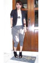 black shoes - gray blazer - gray pants