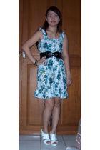 white shoes - blue dress