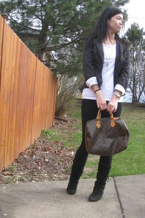 black AByer blazer - white Old Navy t-shirt - brown Louis Vuitton purse - gold F