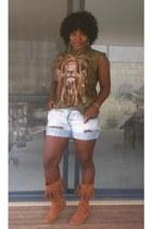 The Mountain t-shirt - shoe show boots - DIY shorts