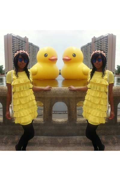 black Express tights - yellow ruffled H&M dress - black Hot Topic sunglasses