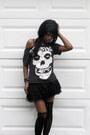 Tulle-skirt-shirt-misfits-fiend-shirt-shirt-tights-jean-vest-gap-vest
