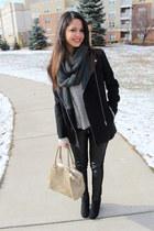 black Target boots - black patent leather H&M coat