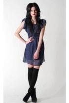 black pretty sunday boots - blue pretty sunday dress - silver fashionology neckl